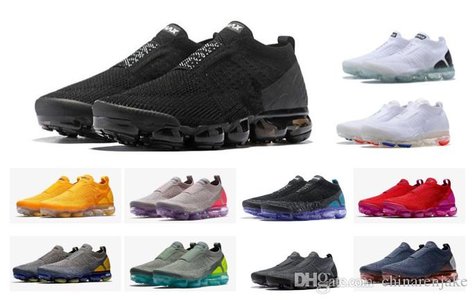f7ca02aec80 2018 Air cushion Moc 2 Laceless 2.0 Running Shoes Triple Designer Men Women  Sneakers Fly White Black knit Sports Trainers Zapatos Chaussures