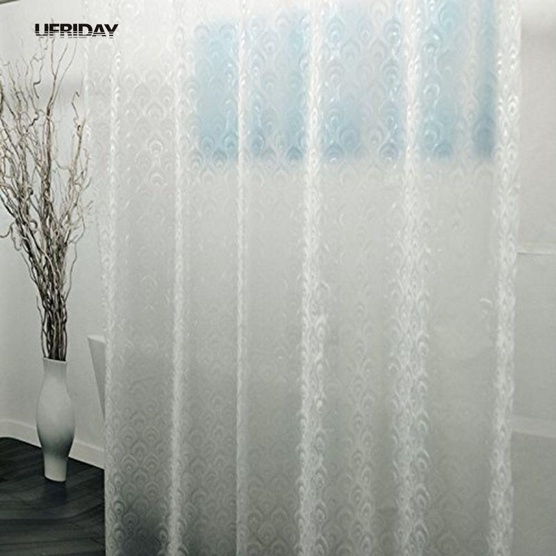 2019 UFRIDAY New 3D Peacock Feather PEVA Shower Curtain Semi Transparent Curtains Liner For Bathroom Plastic From Hariold