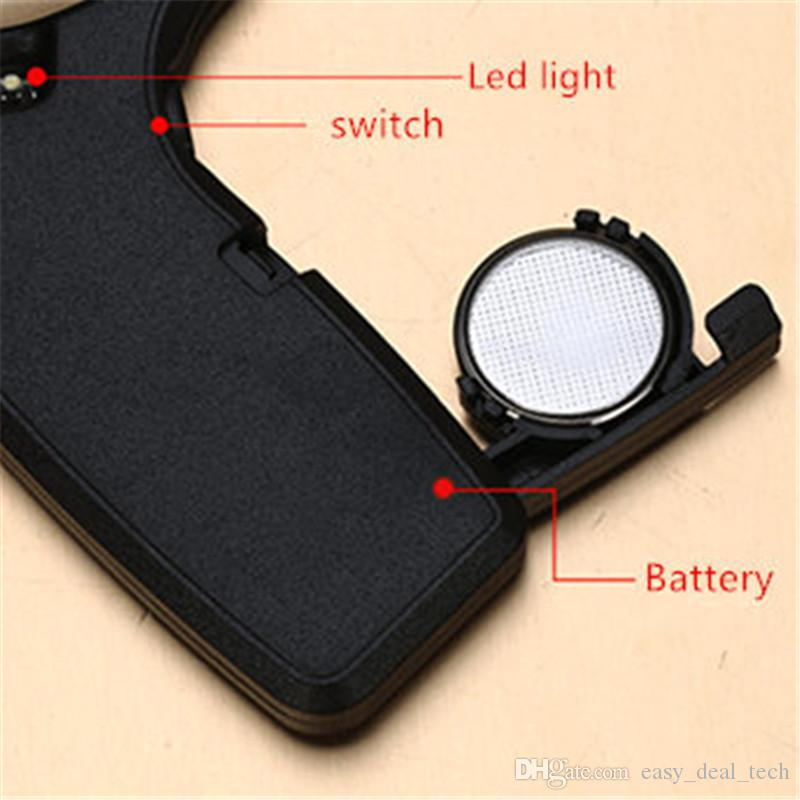 4 Times 50mm Card Type Magnifiers with LED&UV Portable Jewelry Loupe Reading Magnifying Glass Lens Illuminated Pocket Magnifier Q0684