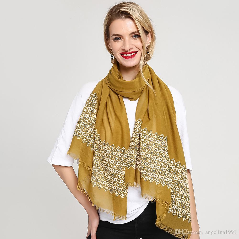 New Embroider Flower Scarf Hijab Plain Maxi Fashion Luxury Women Scarves Shawls Brand Soft Muffler Naden Knitted Fur From