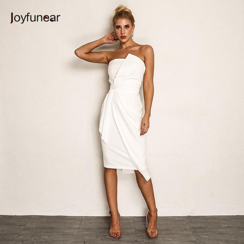 dbb098b37 Compre Joyfunear Sexy Strapless Summer Dress Mujeres 2018 Otoño Asimétrico  Beach Party Vestido Blanco Midi Bodycon Elegent Vestido De Verano Vestido A  ...