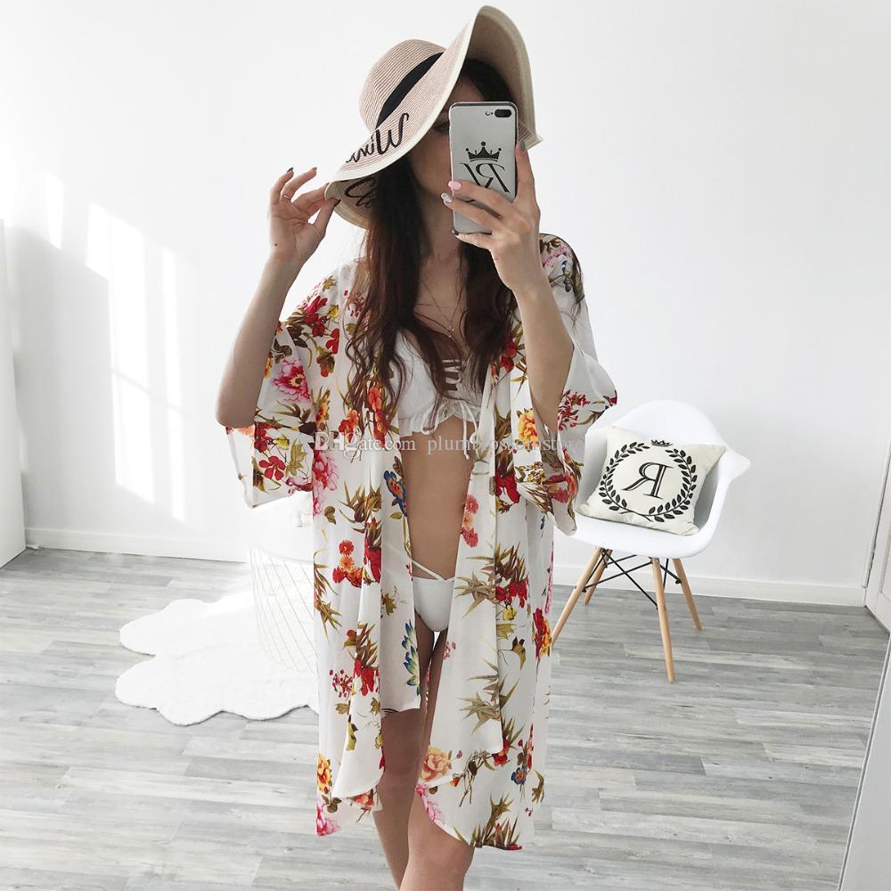 5e64a5aaf6 Women Kimono Long Cardigan Blouses Half Sleeve Floral Print Chiffon ...