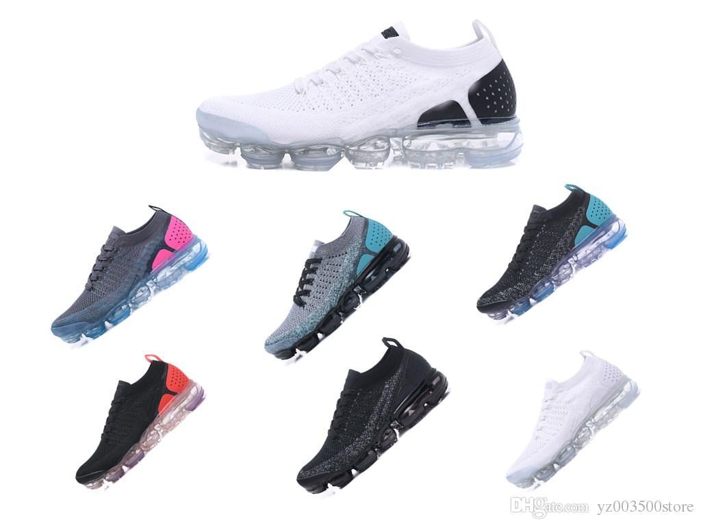 new product 300e4 4bbf7 Acheter Nike Air Vpormax Flyknit 2018 Nouvelles Couleurs 2.0 Fly Knit  Fluorescence Vert Chaussures De Course De Sport Pour De Haute Qualité 2  Retro Designer ...