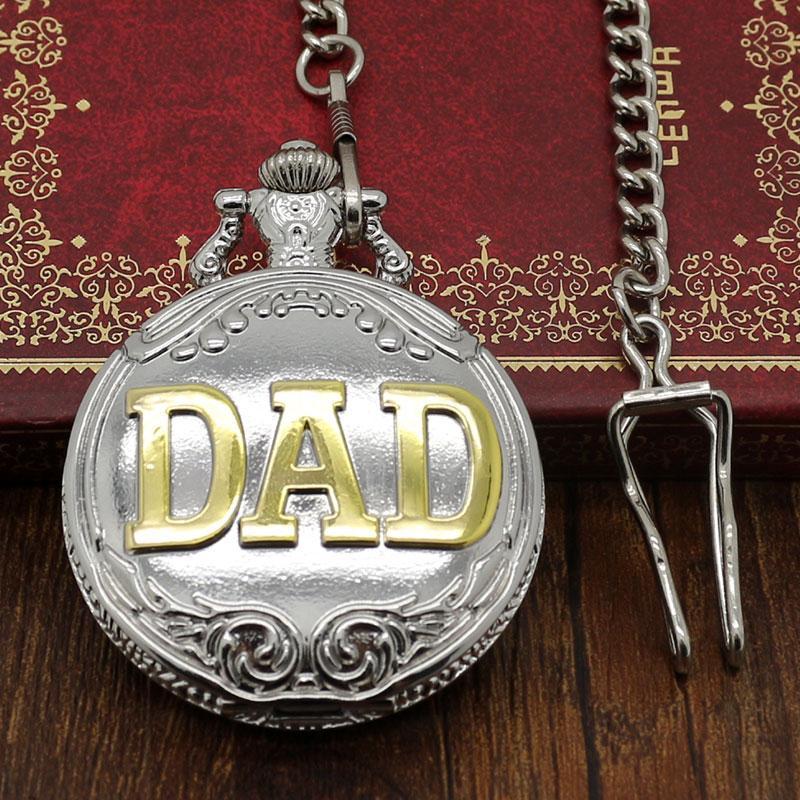 Großhandel Vatertag Geschenk Golden Dad Silber Taschenuhr Uhr Dicke ...