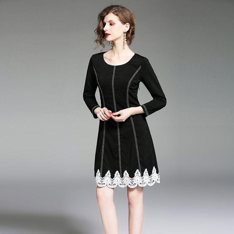 big sale 22660 49acf Abiti casual da giorno Vestito aderente elegante per donna Autunno Mini  abito lungo in pizzo a maniche lunghe nero
