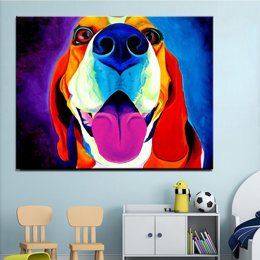 Compre Imprimir Pintura Al Óleo Pintura De La Pared Beagle Saphira ...