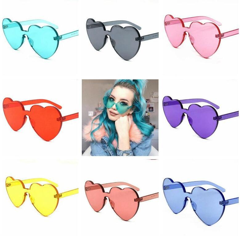 297112a48d3 2019 Love Heart Shape Sunglasses Women Rimless Frame Tint Clear Lens  Colorful Sun Glasses Outdoor Eyewear CCA9304 From Sport no1