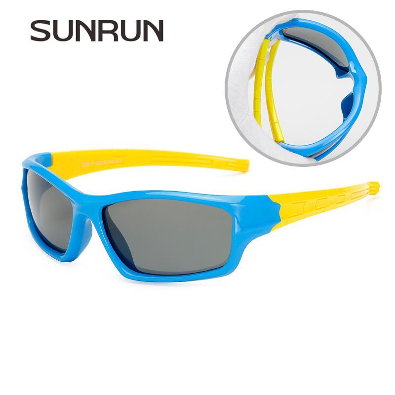 b8bff09d2 Compre SUNRUN Tons De Moda Meninos Polarizados Óculos De Sol Da Marca  Designer Crianças TR90 Quadro Óculos De Sol Do Bebê Meninas Óculos De  Proteção UV ...
