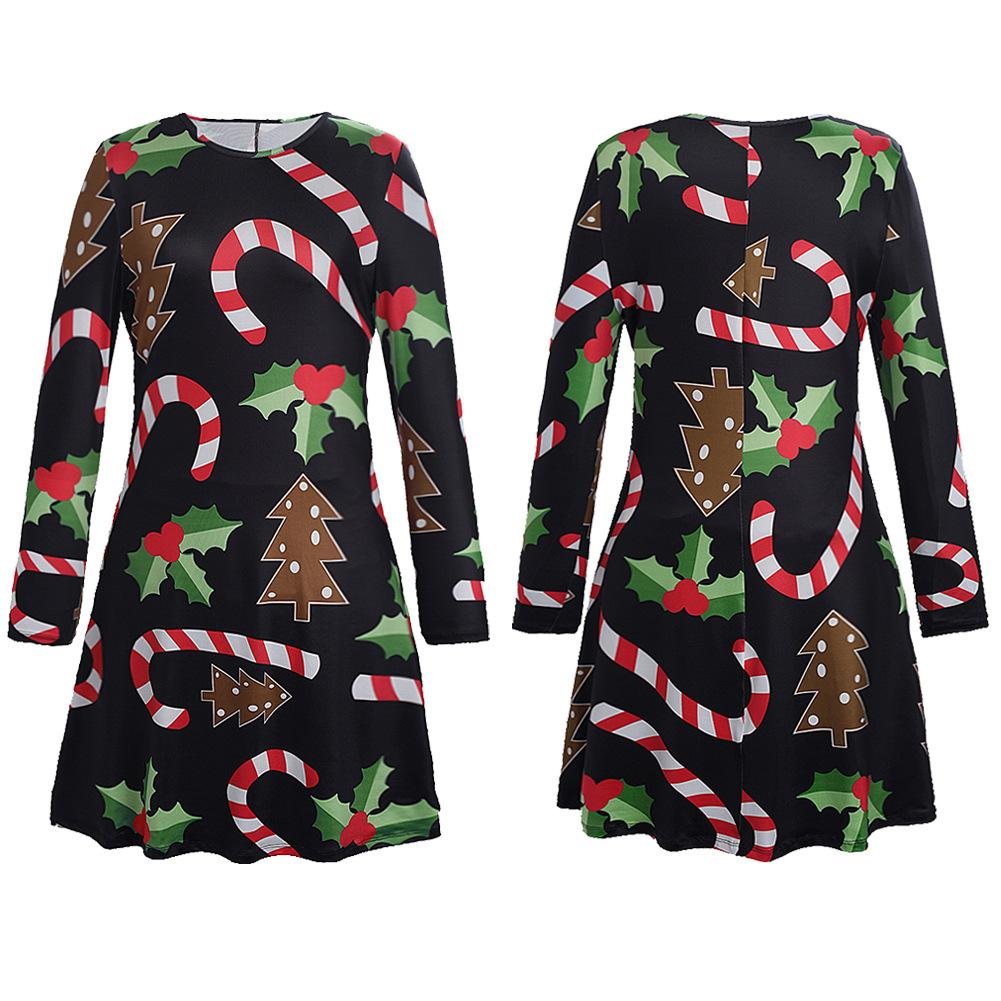 6d09958c7c454 Plus Size Women Long Sleeve Loose Dresses 2018 New Casual Christmas ...