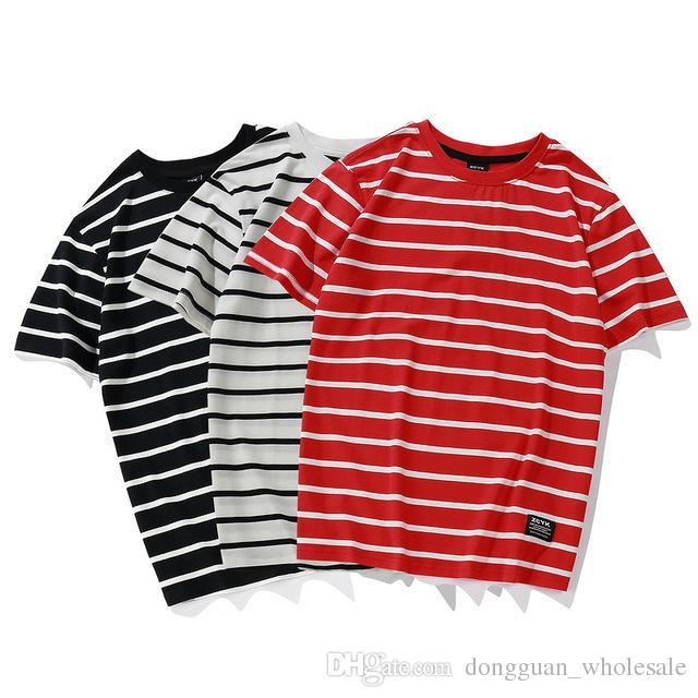 6febff182cf0dd Fashion Striped T Shirts 2018 Men Women Skateborad Red White Striped T Shirt  Top Tees Hip Hop Black White Striped T Shirts Fun T Shirts Online Tshirt  And ...