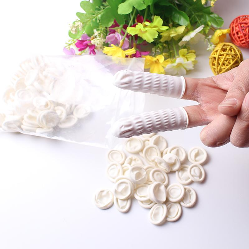 White Eyebrow Gloves Disposable Latex Rubber Finger Cots Anti-static Protector Tip Cover Tattoo Nail Art Beauty Tool