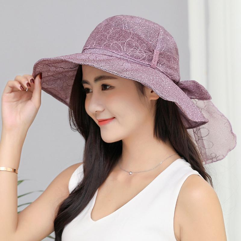 HT1639 2018 New Summer Hat Korea Style Fashion Women Beach Hat Lady  Foldable Anti UV Sun Female Big Bow Flat Top Bucket Hats Beanie Hats Winter  Hats From ... 434aaa345c1
