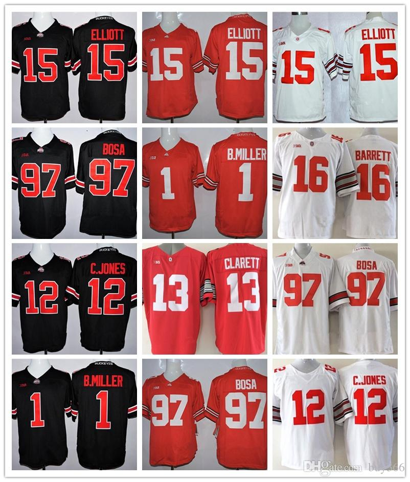 2019 Mens Ohio State Buckeyes  97 Nick Bosa Ezekiel  15 Elliott Jersey  2  JK Dobbins 1 B.Miller Stitched White Red Black Football Jerseys From  Buy366 fe7144eb1