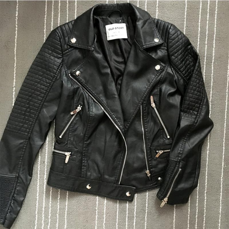 GLO-STORY женщины куртка кожа 2018 с длинными рукавами повседневная пальто улица панк стиль молния PU черный кожаные куртки WPY-3590