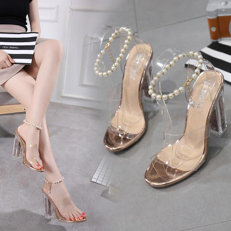 5326332c7e81bd High Heel Beautiful Sandals 2018 Summer New Pattern Rome Wind Pearl Chain  Transparent Sexy Crystal Women Shoes 35 40 Code Panic Buying Gold Wedges  Red ...
