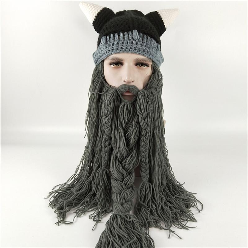 80f937bf7e2 2019 Knit Men S Winter Hat Barbarian Vagabond Viking Beard Beanie Crochet  Caps Women Halloween Christmas Gift Party Face Mask Beanies Xmas Horn From  ...