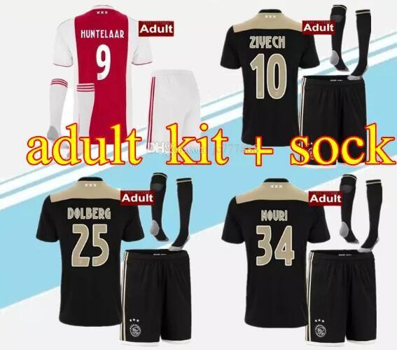 b5bc8da2aaf Acheter Ajax Soccer Maillot 18 19 Ajax Fc Adulte Kit + Socks Maillots  Maison À Distance Kits 2018 2019 Personnalisé Klaassen Football Uniforme  Complet Avec ...