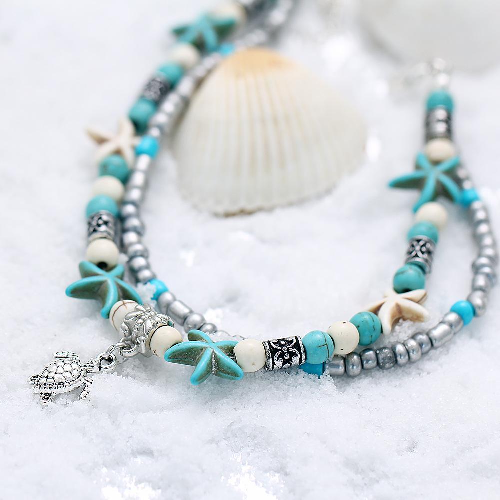 Cute Cuckold Design Bohemia Ankle Bracelet Double layer Small Beads barefoot sandals Halhal Anklets For Women Summer Beach ayak bileklik