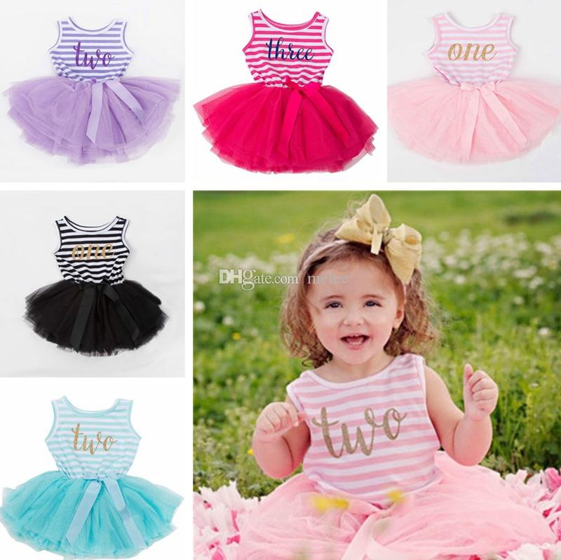 6196075a297 Pink Baby Girl Birthday Party Outfits Gift Girls Sleeveless Princess  Dresses Newborn Baby Clothes Infant Striped Costume Lovely Mini Dresses  Girls Sequin ...