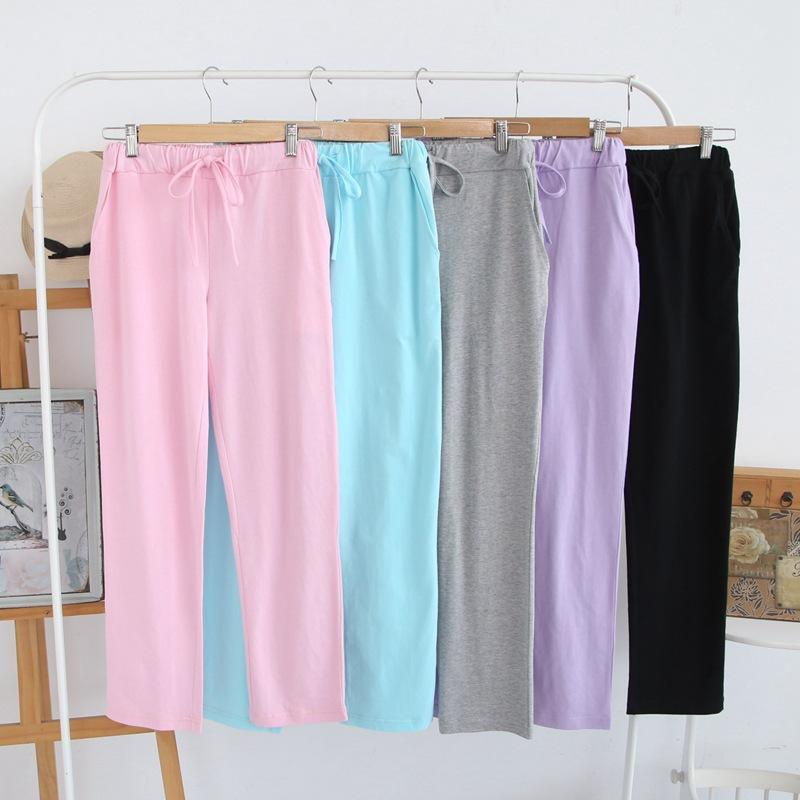 d1af5a3e4 Spring autumn New Pajama Bottoms Cotton Sleep Pants Solid Lounge Wear Loose  Ladies Trousers Knitted Night Pants Pajama Bottoms Sleep Bottoms Cheap Sleep  ...