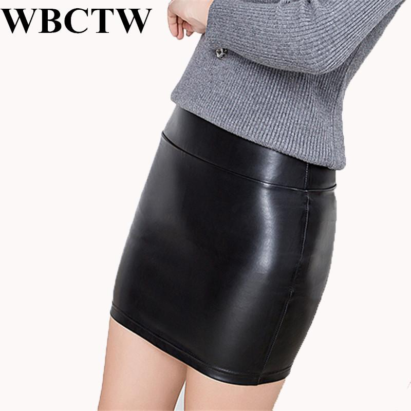 9c979245ca8 2019 WBCTW Sexy Mini Skirts Solid XXS 10XL Plus Size Casual PU Faux Leather  Pencil Skirt High Waist Summer Black Short Women Club From Zhusa