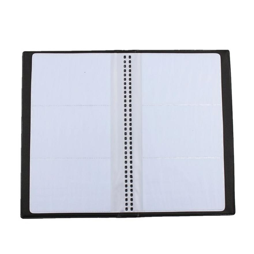 Black Leather 120 Business Name Card Holder Book Wallet Cover Case