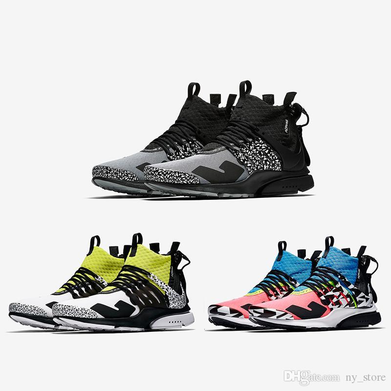 size 40 e45f4 7408a Acheter 2018 Cool Grey Acronym X Air Presto Mi Chaussures De Course Hommes  Formateur Femme Designer Baskets De Sport Dynamic Yellow Racer Pink Multi  Couleur ...