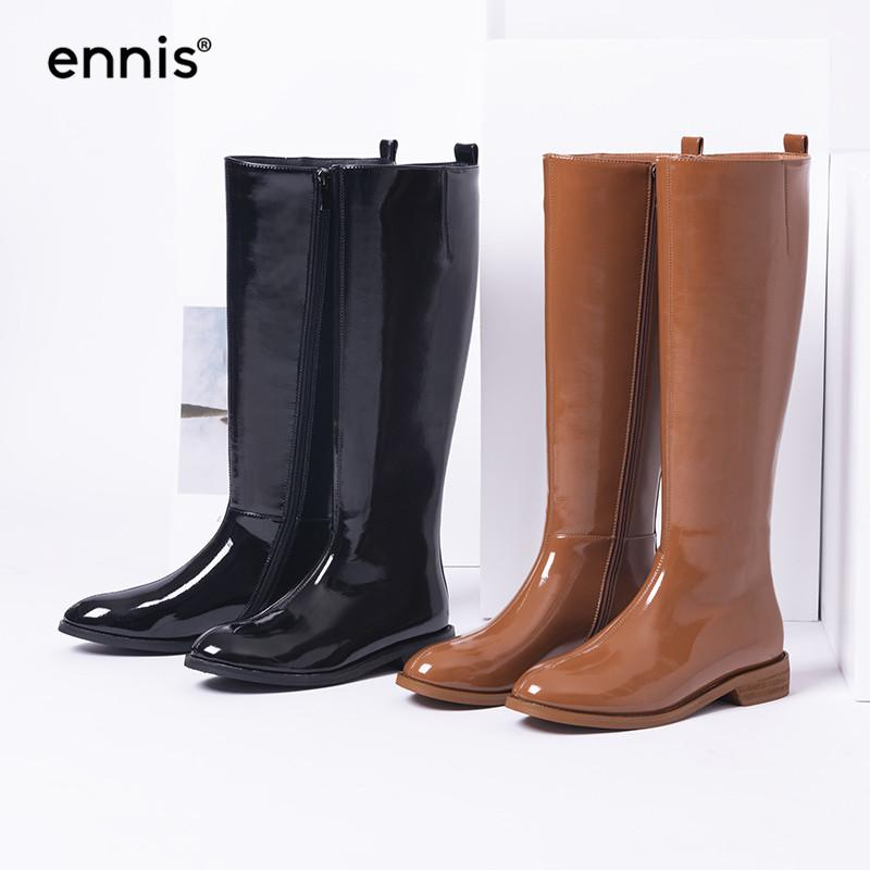 d6fbcd4bce6 ENNIS 2018 Patent Leather Boots Women Flat Black Knee High Boots Brown  Autumn Winter Long Female Fashion Zipper Shoes L873 Chukka Boots Ladies  Shoes From ...