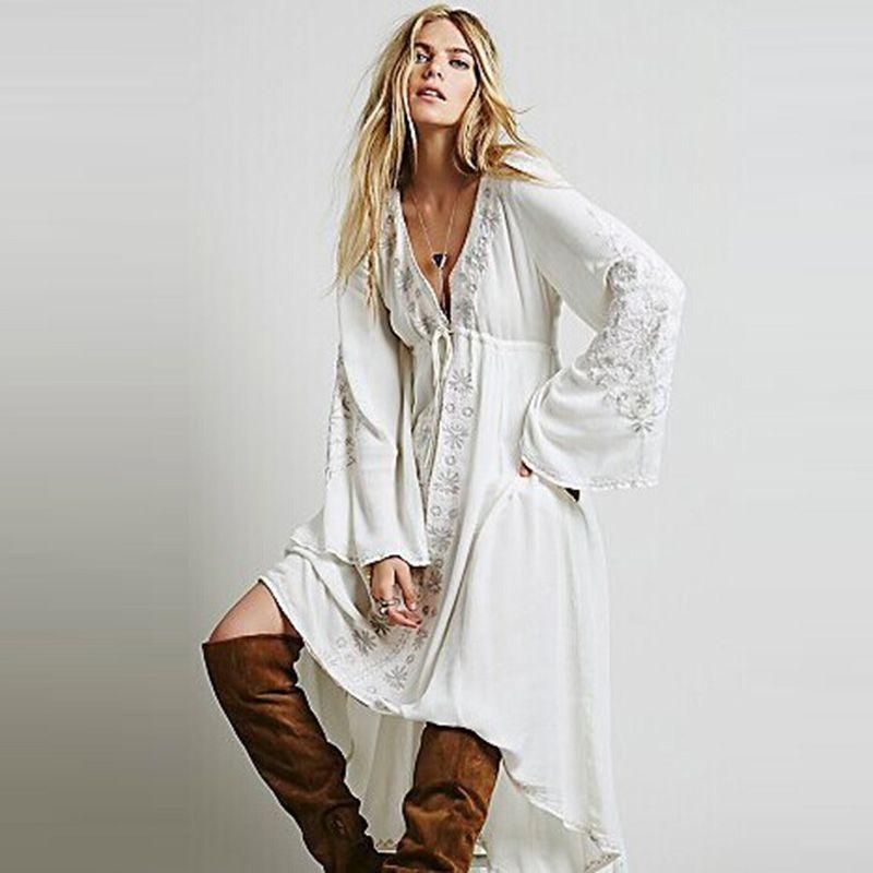 여름 빈티지 민족 드레스 수 놓은 코튼 히피 드레스 비대칭 Boho 사람들 드레스 긴 보헤미안 드레스 Vestidos Etnico