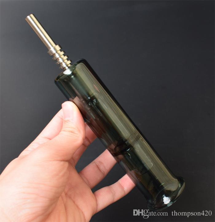 DHL Mini Glass Pipe 14mm colector de néctar con punta de titanio Nail Quartz Tip Nail Oil Rig Honey paja concentrado Pipe Mini fumar tubería