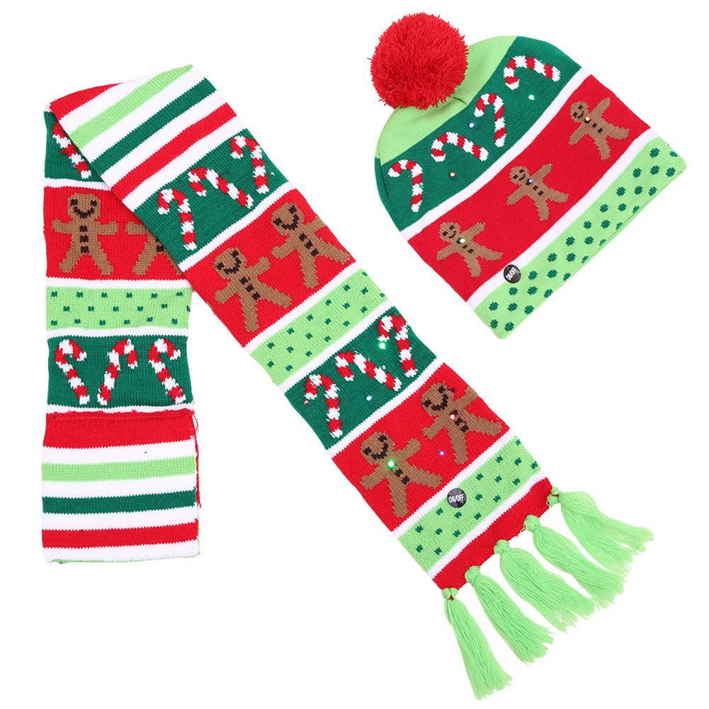 Children Kids Christmas Tree Snow Winter LED Knitted Cap Warm Hat Scarf Set