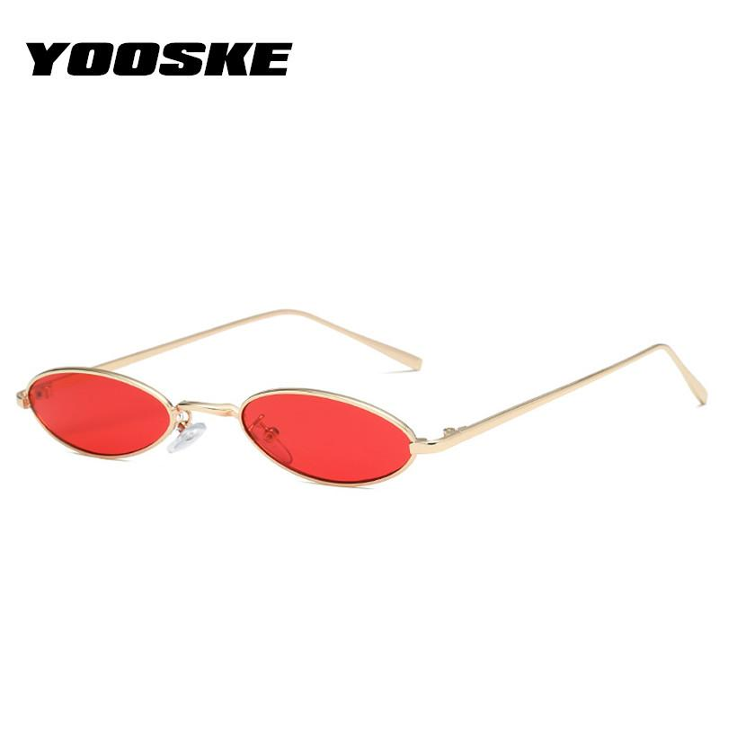 e132e92c8ab YOOSKE Vintage Oval Sunglasses Women Brand Designer Metal Frame Sun ...