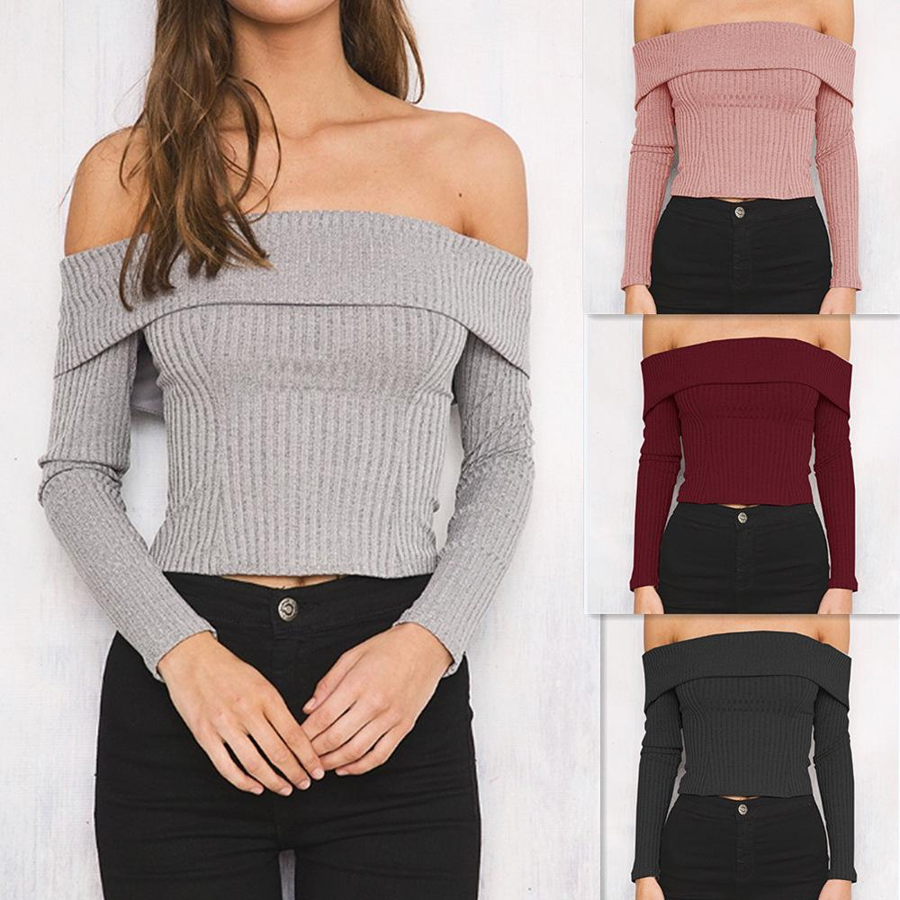 0aab18a3427 2019 New Winter And Spring Women Sexy Off Shoulder Long Sleeved Slim Knits  Tee Ruffled Slash Neck Cropped Short Tees Back Zipper Solid Color Tops From  ...