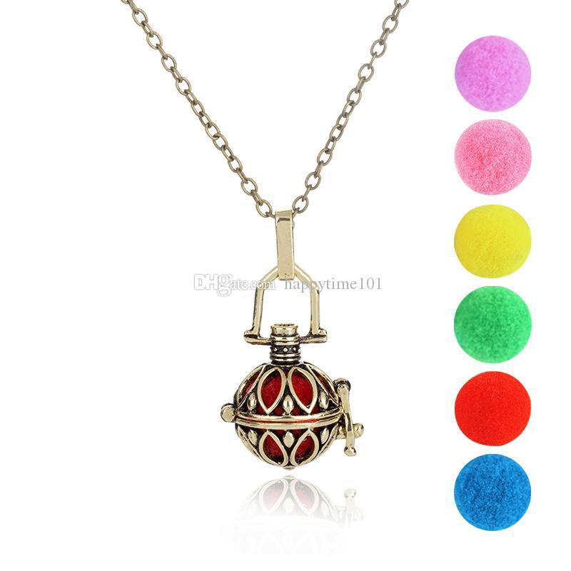 Fashion Hollow Pot Perfume Essential Oil Diffuser Long Necklace Aromatherapy Locket Pendant Sweater Necklace for Women jewelry
