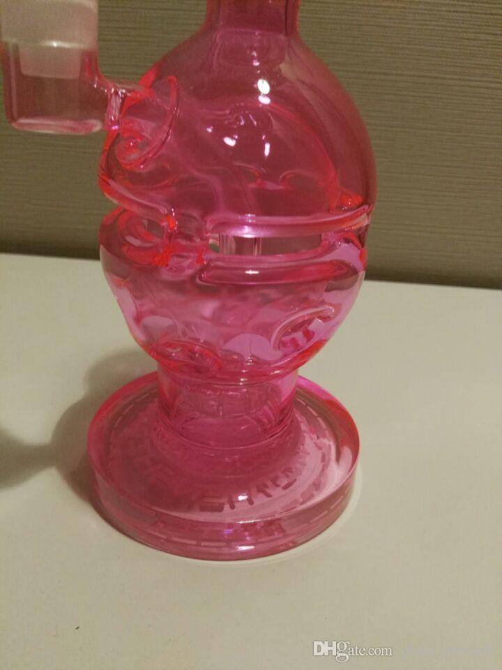 Pelotas de colores rosa cráneo Calavera Cool Glass Water Pipes Fab Egg Bongs de vidrio sólido 2 Función quemadores de aceite Hookahs con Glass Bowls baratos