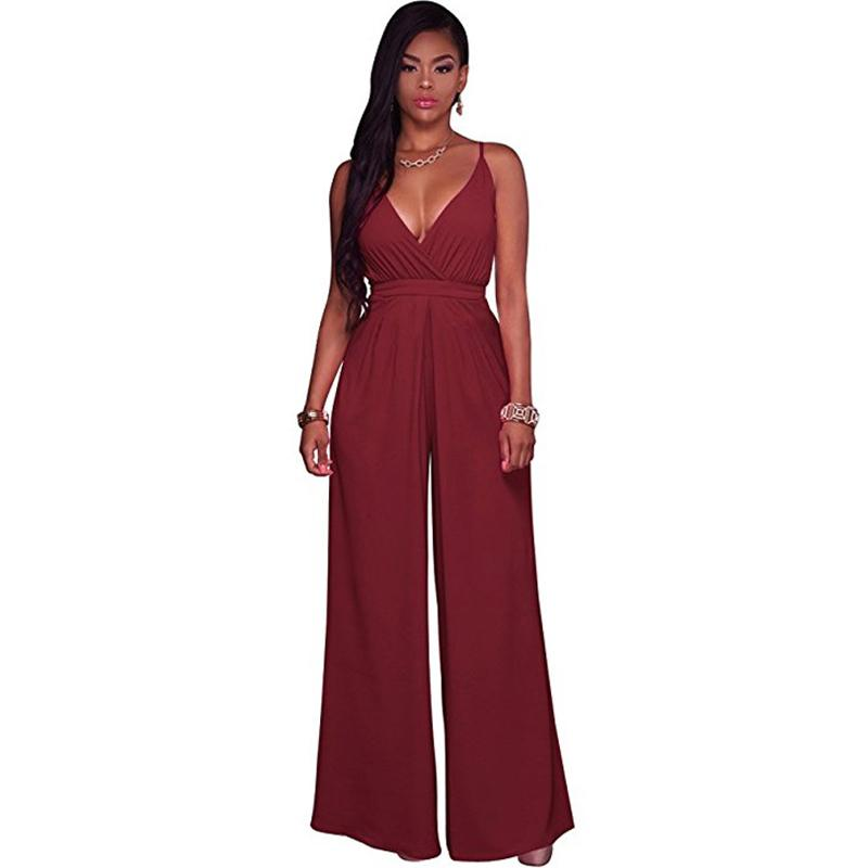 ffee0aaf061d Plain Solid White Blue Jumpsuits Sleeveless Strap Wide Leg Pants Sexy  V-neck Wrap Trousers Night Clubwear Romper Summer Overalls Jumpsuits Cheap  Jumpsuits ...