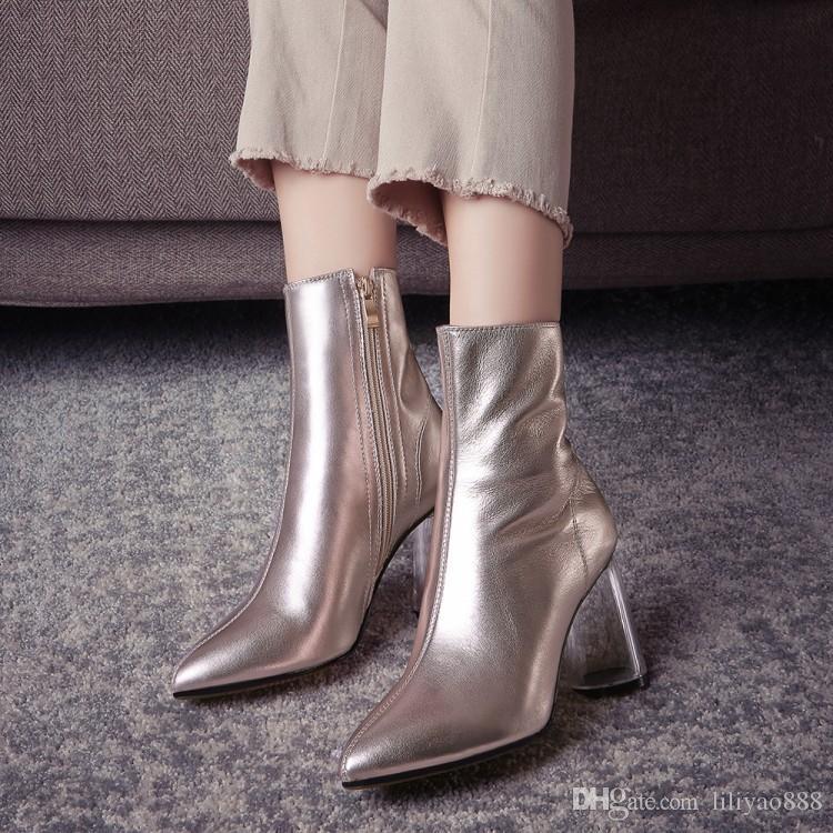 2017 새로운 모든 경기 하프 부츠 Chunky high heel 여성 신발 Pointed toes 측면 지퍼 부츠 독특한 파티 하이힐 Shoes 고품질