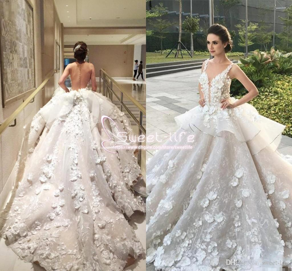 Luxurious Sexy 2019 Ball Gown Wedding Dresses Jewel Illusion Full 3D-Floral Appliques Empire Peplum court train Custom Made Bridal Gowns