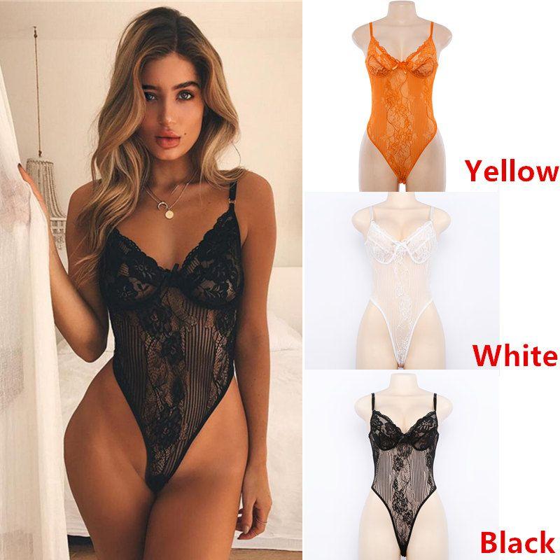 8b6c0b1780fb 1 UNIDS Ventas Calientes Ver a través de Encaje Body Sexy Lencería Body de  Encaje Mujeres Verano Body Jumpsuit Lingeries S / M / L Envío Gratis