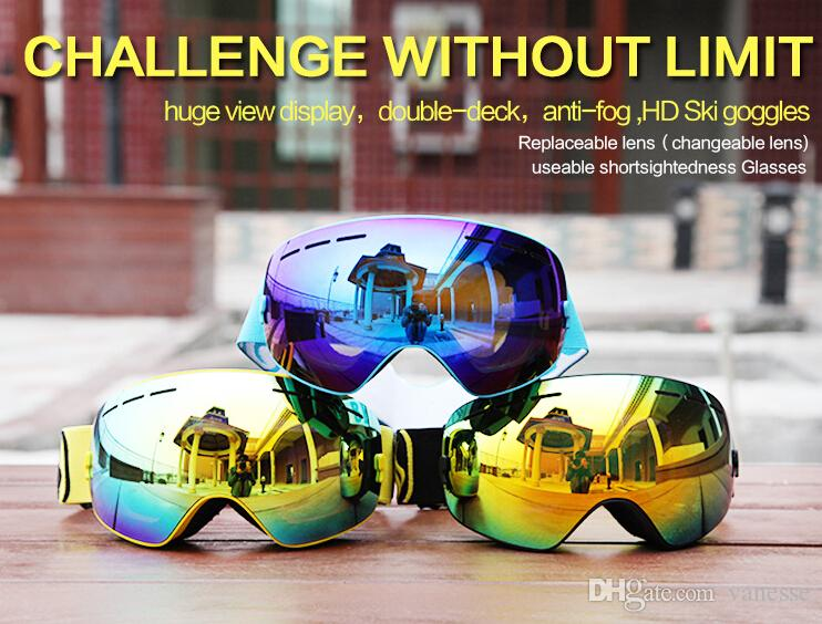 d6630380ff8 Winter Ski Goggles UV400 Anti-fog Double Layers Skiing Mask Glasses ...