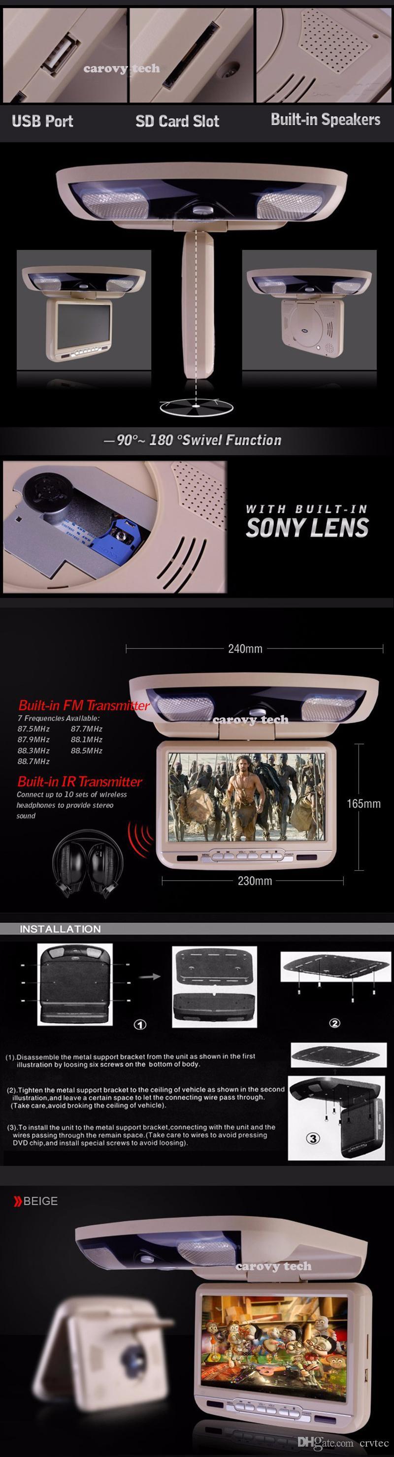 9 inch Flip Down Dvd 800x480 Swivel screen monitor roof mount car dvd player USB SD FM IR Transmitter Game beige grey black