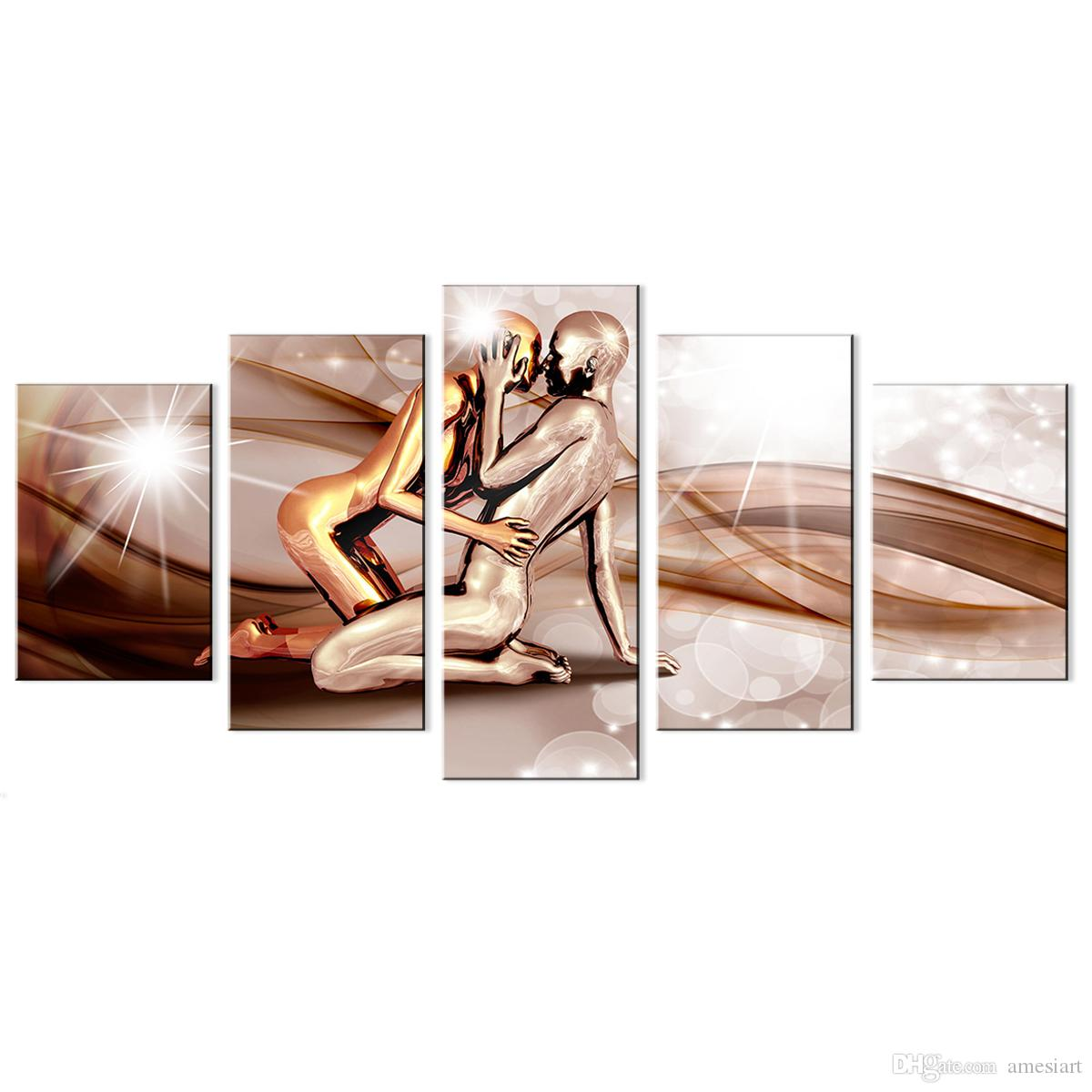 Amosi Art Canvas Print Painting Lovers Bronze Man Abstract Ribbon Background Modern Contemporary Picture Home Decor 5 Panels Pictures Framed