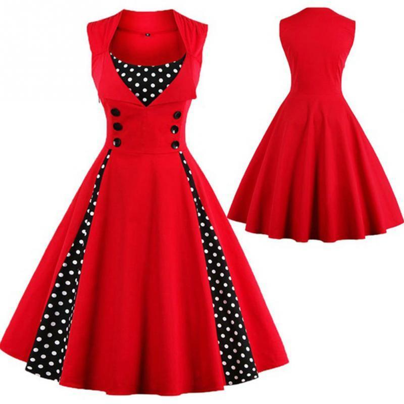 Women Robe Pin Up Dress Retro 2018 Vintage 50s 60s Rockabilly Dot ...