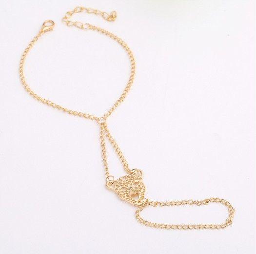Vintage Harness Hand Chain Leopard Head Bangle Slave Chain Gold Tone Hand Bracelets Finger Ring Bracelets