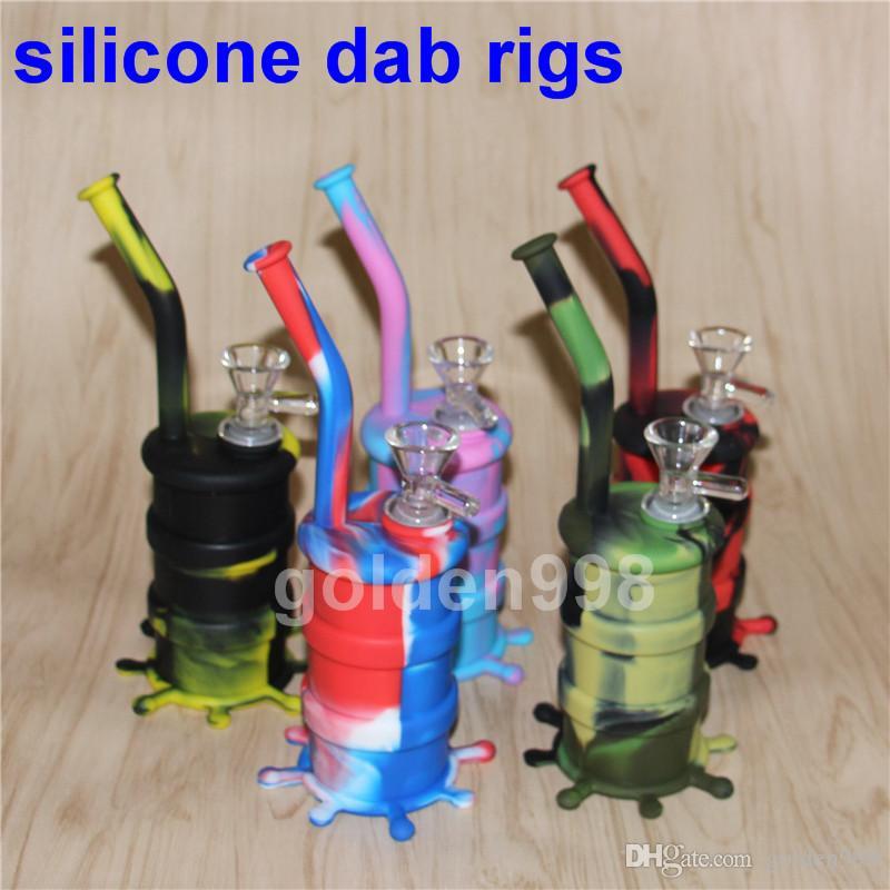 Venta al por mayor Mini Silicone Rigs Jar Bongs Jar Jar Tubería de agua Silicon Oil Drum Rigs silicona pipas de agua de silicona burbuja bong