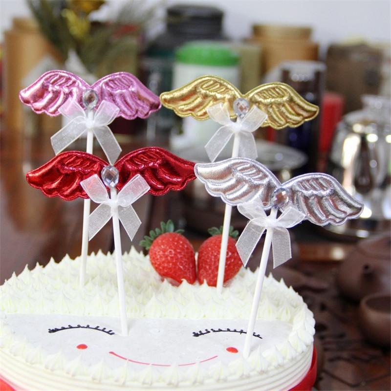 Grosshandel 10 STUCKE Kristall Perle Flugel Cupcake Cake Topper Happy Birthday Kuchen Flaggen Fur Familie Geburtstagsfeier Backen Dekoration Liefert Von