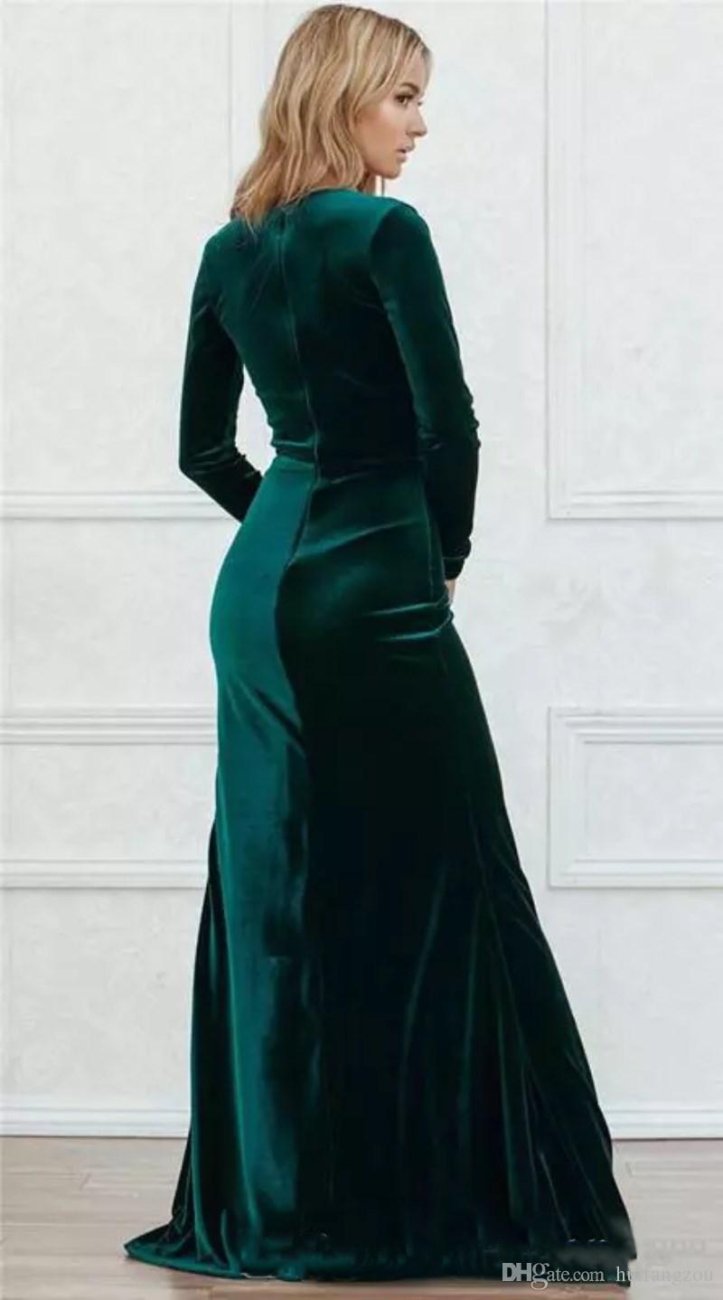 2018 Sexy Velvet Prom Dresses Plunging V Neck Hunter Green Long Sleeves Side Split Floor Length Formal Dress Evening Wear Vestido festa