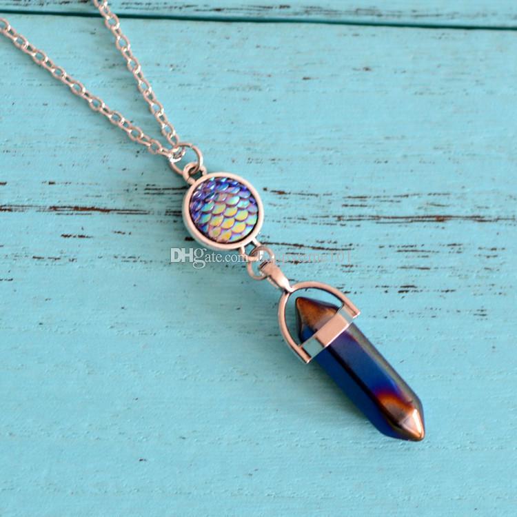 Il nuovo modo di pietra naturale esagonale prisma Gioielli Drusy signora delle donne la collana Druzy Collane Mermaid Scala a sospensione