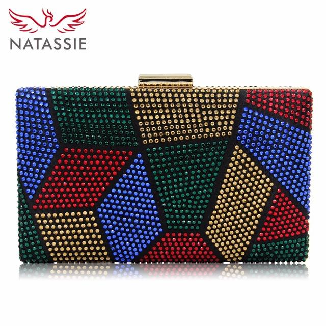 Natassie New Design Women Cluth Ladies Crystal Evening Bags Two Side Party Bag Female Wedding Clutch Purse