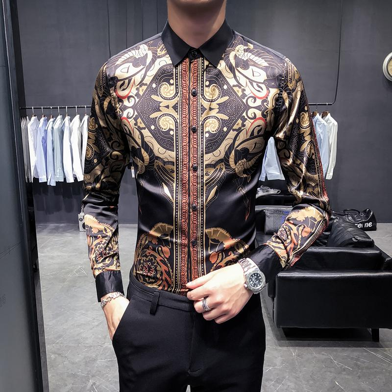 d29ceb3107a Loldeal Baroque Shirts Mens Patterned Shirts Luxury Mens Party Gold ...